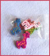 Lotto 5 sagome giraffe in legno