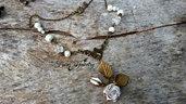 Collana rosa bianca bronzo boccioli natura chabby chic idea regalo  arte gioielli artistici