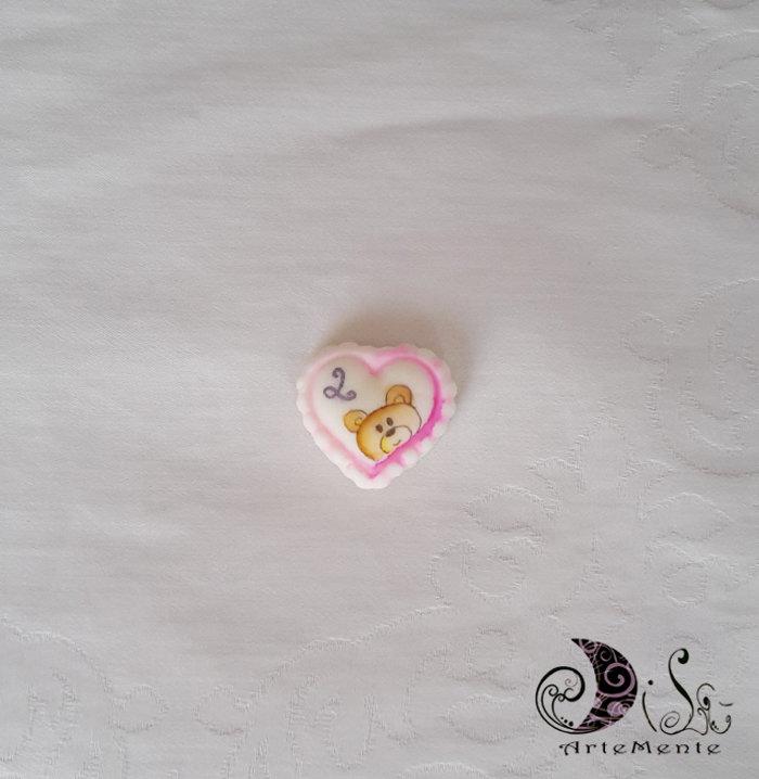 bomboniera applicazione o ciondolo cuoricini orsetto con lettera personalizzata
