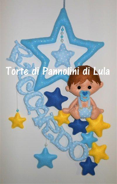 Fiocco nascita stelle bebè bambino coccarda nome personalizzato feltro maschio
