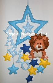Fiocco nascita stelle leone bambino coccarda nome personalizzato feltro maschio