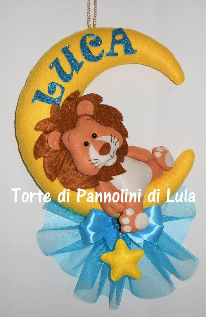 Fiocco nascita luna leone bebè bambino nome personalizzato maschio fuori porta