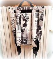 Zainetto borsa con stampa bianco e nera