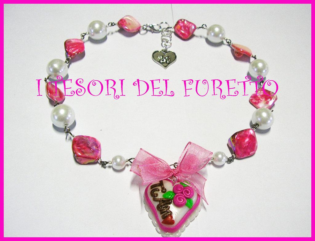 Collana S.Valentino fimo cernit rosa OOAK idea regalo love torta dolcetto