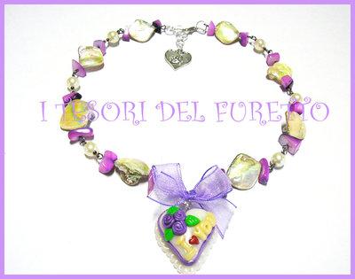 Collana S.Valentino fimo cernit OOAK idea regalo love torta dolcetto lilla viola