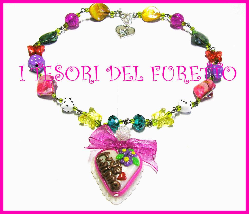 Collana S.Valentino fimo cernit multicolor OOAK idea regalo love torta dolcetto