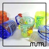 servizio bicchieri in vetro di Murano, murrine millefiori e foglia argento. Bella Idea regalo