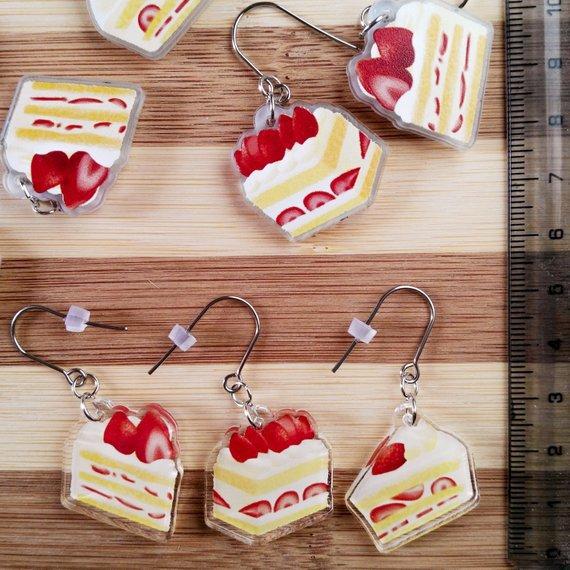 Orecchini con Torta Panna e Fragole
