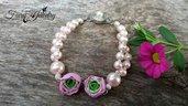 Bracciale ranuncoli perle rosa delicato shabby chic gioielli artistici artigianali fimo bigiotteria