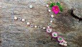 Collana ranuncoli fimo perle romantico bigiotteria artistica artigianale idea regalo fiori