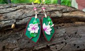 Orecchini foresta fatti a mano in pasta polimerica bigiotteria artistica artigianale gioielli idea regalo