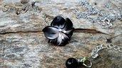 Anello fiore bianco nero fimo regolabile bigiotteria gioielli artistici artigianali idea regalo