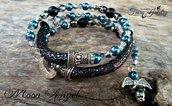 Bracciale molla avvolgibile angelo blu nero bigiotteria gioielli artigianali idea regalo gotico