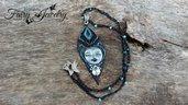 Collana Madre Luna foglia pasta polimerica realizzata a mano uncinetto gioielli artistici artigianali bigiotteria