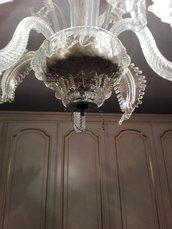 Finale con fiocco, pezzo inferiore di ricambio per lampadari con pezzi rotti come Venini, Arlecchino, Maria Teresa, con più luci , trasparente