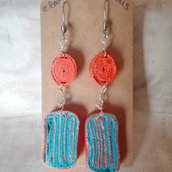 Paper Bijoux Orecchini Arancio e Azzurro
