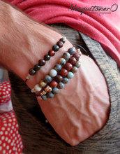 Bracciale uomo, stile minimal,bracciale perle diaspro,artigianale,per lui, nodi macrame,regalo, semplice,gemstone,perline perle,occhio tigre