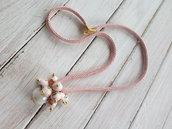 Collana rosa e bianca