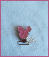 Clip per catenella porta ciuccio Topolino strass rosa