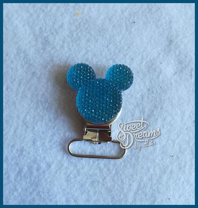 Clip per catenella porta ciuccio Topolino strass azzurro