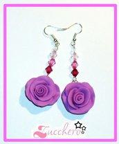Orecchini Fimo/Cernit Rose