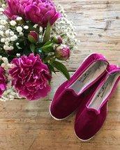 Scarpe o Pantofole in Velluto Ciclamino  , Stoffa e Tessuto
