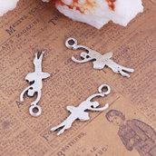 3*(10 pezzi ) Pendente Charms a forma di BALLERINA  20 x 6  mm per collane, bomboniere, bracciali, feste party eventi Natale