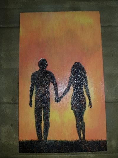 Quadro pirografato e dipinto a mano. Innamorati