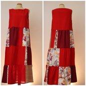 Vestito patchwork da donna, in lino, bourette di seta e cotone; fatto a mano.