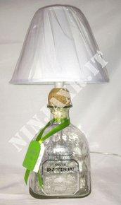 Lampada bottiglia Tequila Patron Silver Magnum 1,75 litri abat jour light lamp riciclo creativo riuso