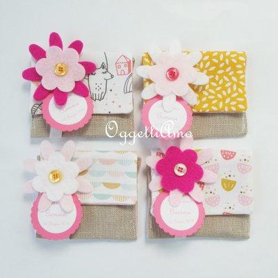 40 sacchetti portaconfetti in cotone e lino per le bomboniere di Gemma: bomboniere fatte a mano per il suo battesimo