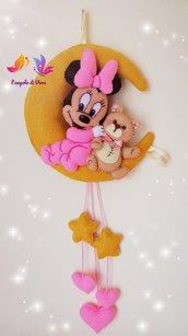 Fiocco nascita Minnie con orsetto sulla luna