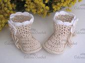 Scarpine stivaletti beige/bianco neonato neonata cotone all'uncinetto