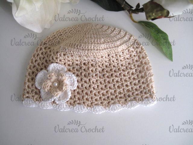 Cappellino beige neonata neonato cotone all'uncinetto