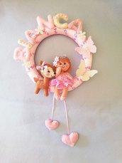 Fiocco nascita coccarda rosa  principessa bambina con bambi