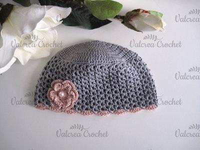 Cappellino grigio/rosa antico neonata cotone uncinetto