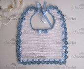 Bavaglino bianco/bordo azzurro neonato nascita battesimo cerimonia cotone uncinetto