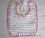 Bavaglino bianco/bordo rosa neonata cotone all'uncinetto