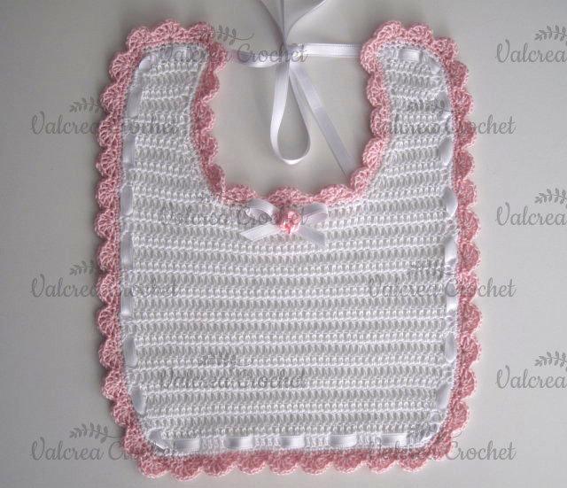 Bavaglino Biancobordo Rosa Neonata Cotone Alluncinetto Bambini