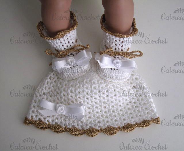 Set coordinato bianco/bronzo scarpine+cappellino battesimo cerimonia nascita cotone  uncinetto