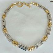Collana in metallo bicolore firmata Pierre Cardin, vintage anni 70 /80