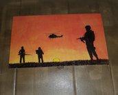 Quadro pirografato e dipinto a mano. Soldati al tramonto