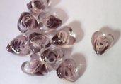 Perla perlina in vetro trasparente a forma di cuore  con dettagli di colore BORDEAUX decorazioni Accessori bigiotteria, orecchini, bracciali, collane