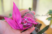 Polymer Clay Doll Fimo,  Handmade Fantasy Necklace Miniature