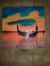 Quadro pirografato e dipinto a mano. Venezia laguna