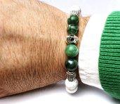 Bracciale uomo bianco-verde