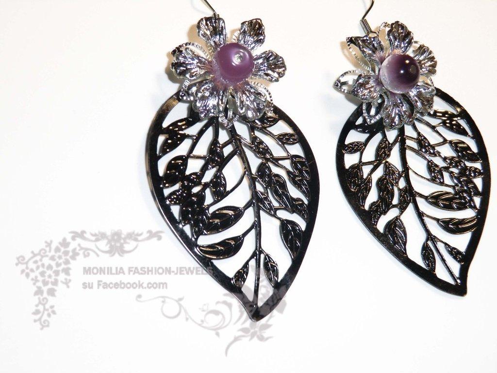 orecchini vintage foglie filigrana e fiori lucite