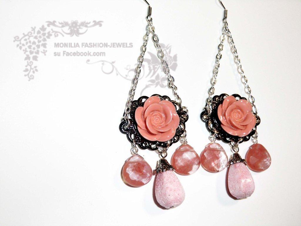 orecchini gothic vintage vittoriani chandelier giada e corallo