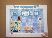 Quadretti nascita da bambino decorati a mano in fimo balsa e cartoncino. Idea regalo