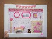 Quadretti nascita da bambina decorati a mano in fimo balsa e cartoncino. Idea regalo